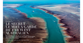 Bednar Magazine double spread with aerial image of True North