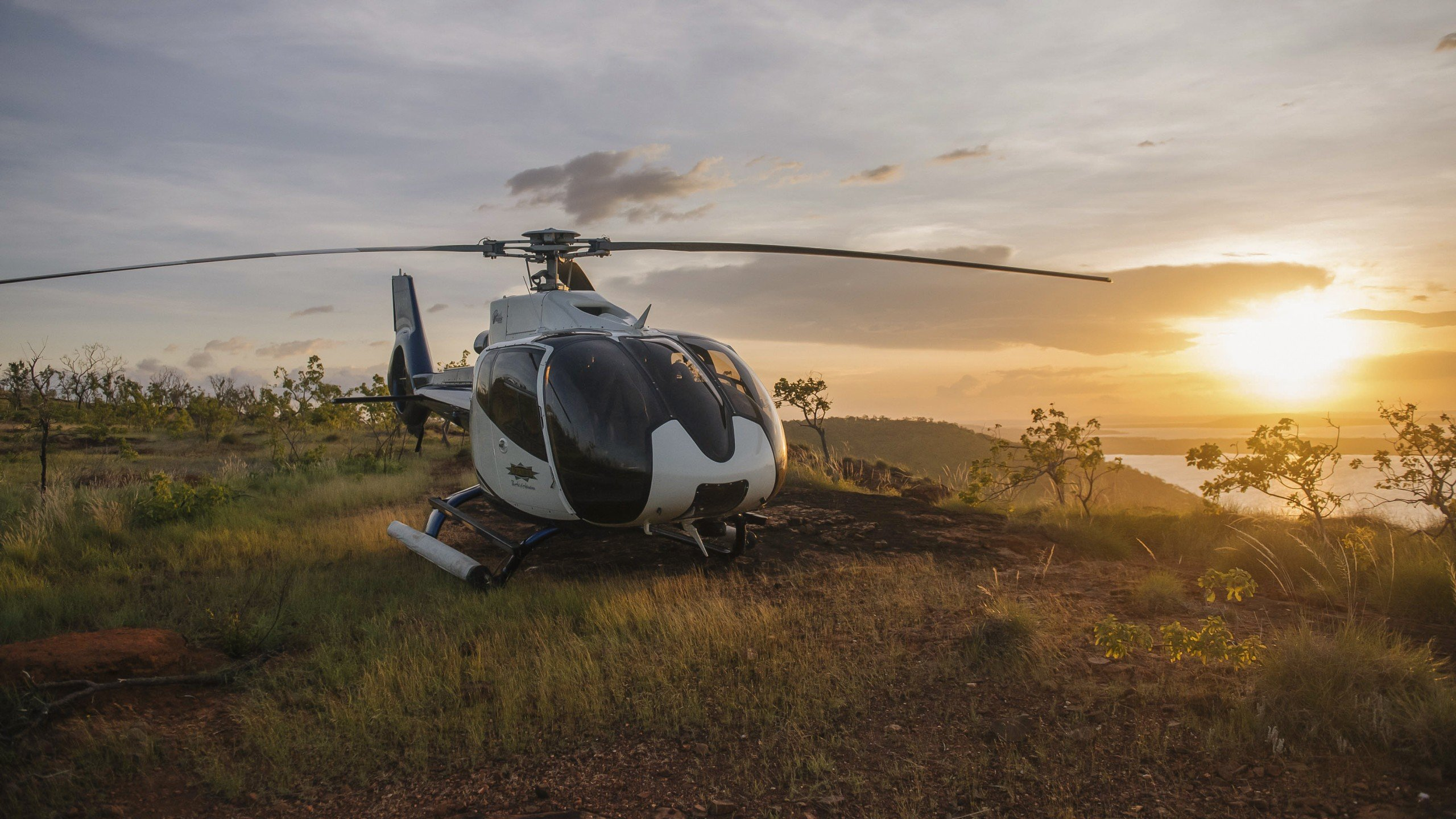 sunset with true north helicopter