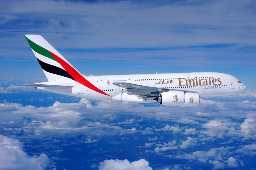Emirates flight EK420 lands at Perth Airport