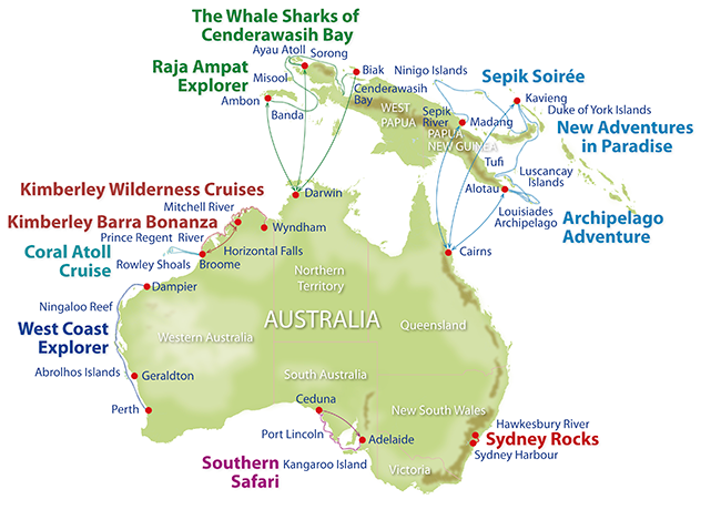 Luxury Adventure Cruises Map