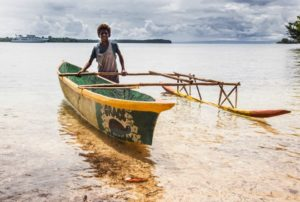 Sepik River - Boy with Canoe