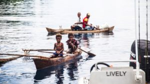 Sepik River - Kids in Canoes