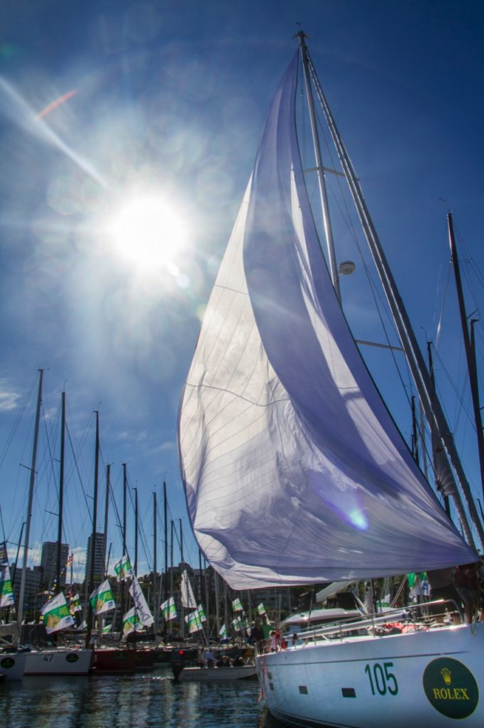 Sydney To Hobart Race Entrant Unfurling Sail