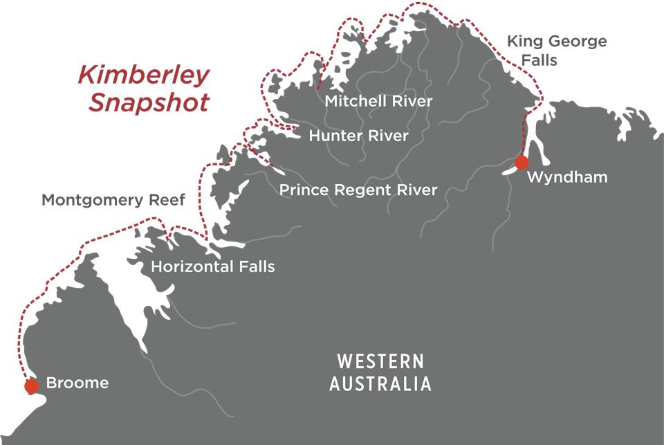 Kimberley Snapshot Cruise Map